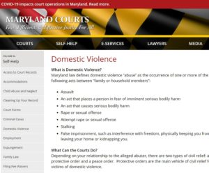 Maryland Courts, Domestic Violence packet, Columbia Treatment Center